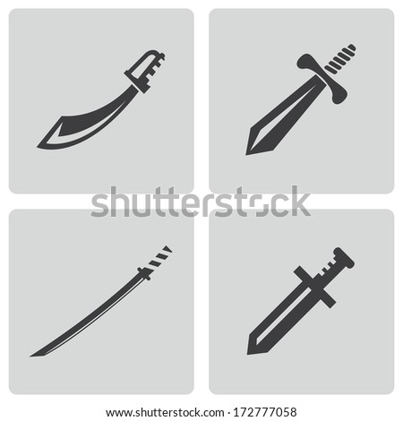 Vector black sword icons set on white background - stock vector