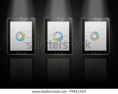 vector - black tablet pads with a white screen on infographic elements and a reflection on a black background.