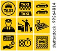 Vector black taxi service icons set. - stock vector