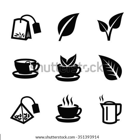 vector black tea icon on white background - stock vector