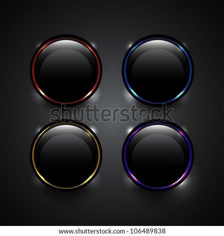 Vector black technology buttons with glowing elements - stock vector