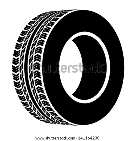 vector black terrain tyre symbol - stock vector