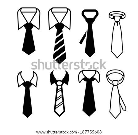 vector black tie icon on white background - stock vector