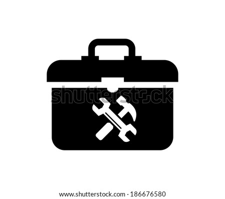 vector black toolbox icon on white background - stock vector