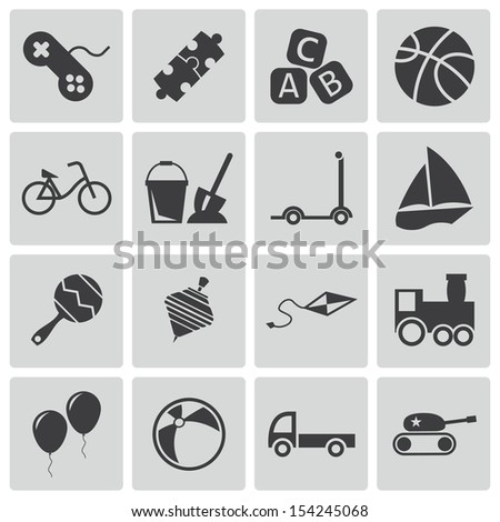 Vector black  toys  icons set - stock vector