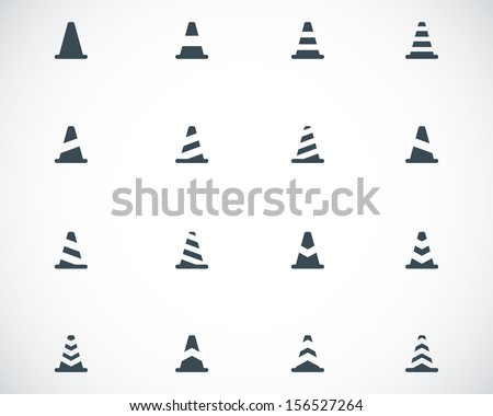 Vector black traffic cone   icons set - stock vector