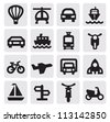 vector black transportation icon set on gray - stock photo