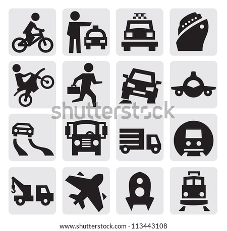 vector black transportation icon set on gray - stock vector
