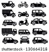 vector black transportation icon set on white - stock vector