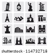 vector black travel and landmarks icons set - stock photo