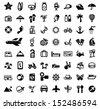 vector black travel icon set on white - stock photo