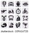 vector black travel icons set on gray - stock vector