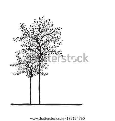 Vector black tree on white background