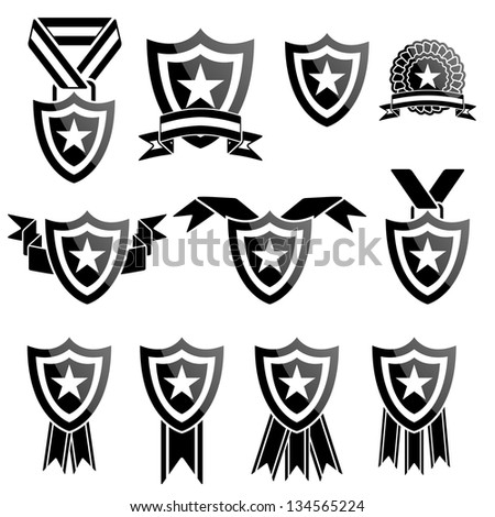 Vector black trophy and awards icons set - stock vector
