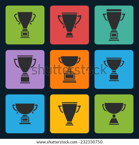 Vector black trophy cup icons set on a color square