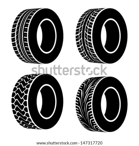 vector black tyre symbols - stock vector