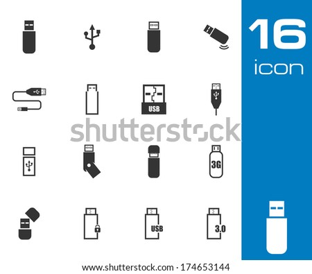 Vector black  usb  icons set on white background - stock vector