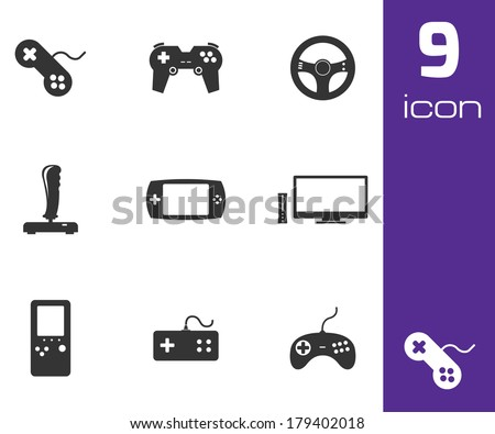 Vector black video game icons set white background - stock vector