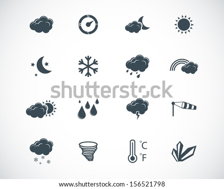 vector black weather icons set - stock vector