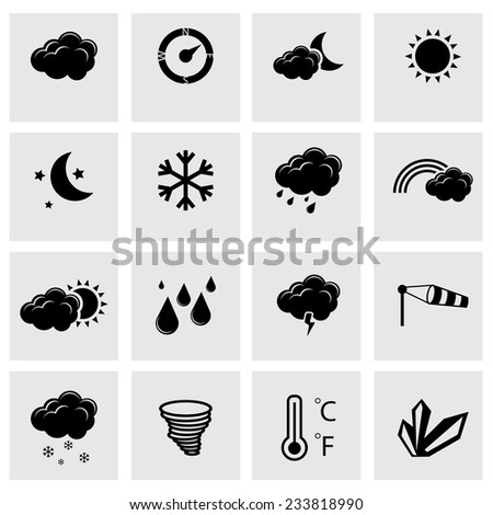 Vector black weather icons set on grey background - stock vector