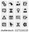 vector black web icons set on gray - stock vector