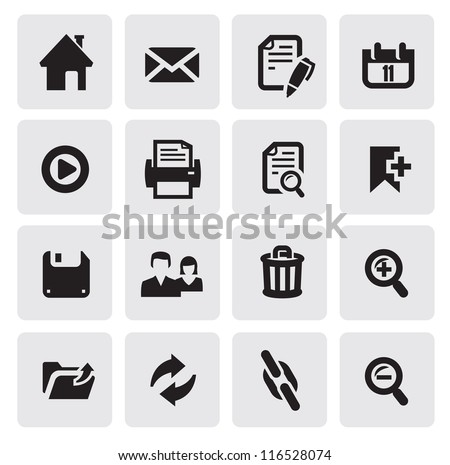 vector black web icons set on gray - stock vector