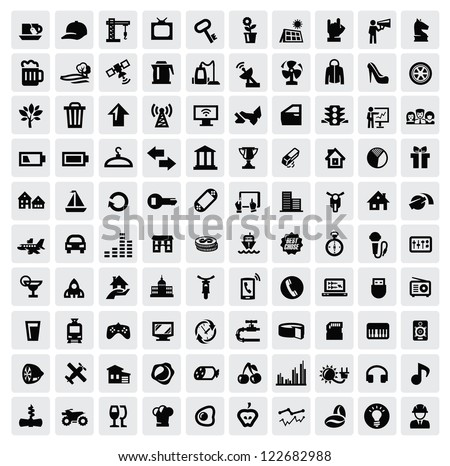 vector black 100 web icons set on gray - stock vector