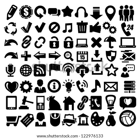 vector black 324 web icons set on gray