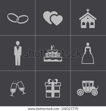 Vector black wedding icons set - stock vector