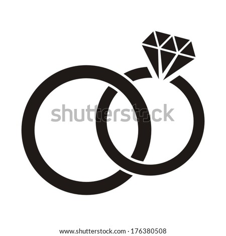 vector black wedding rings icon on white background - Pics Of Wedding Rings