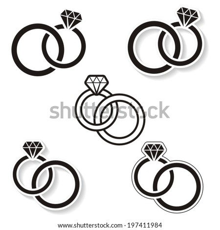 Vector black wedding rings icon on white background - stock vector