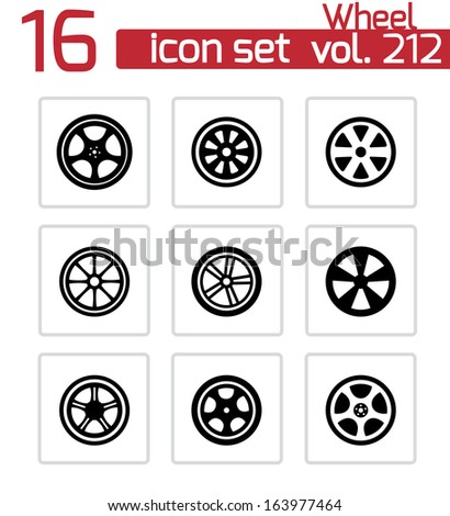Vector black wheel disks icons set - stock vector