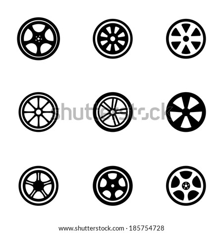 Vector black wheel disks icons set on white background - stock vector