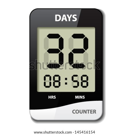 vector black white LCD counter - countdown timer - stock vector