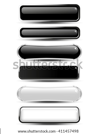 Vector black, white rectangle and oval buttons for website or app. Blank monochrome labels for text Buy now, Subscribe, Sign Up, Register, Download, Upload, Search, Next, Previous, Learn More etc.