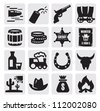 vector black wild west icon set on gray - stock vector