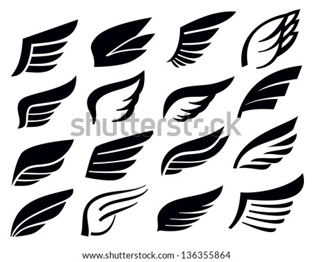 vector black wing icon set on white - stock vector