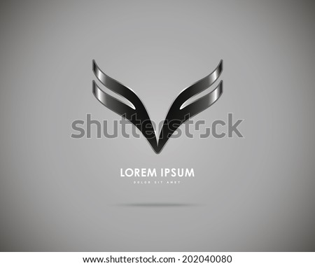 Vector Black Wings of Gray Background. Abstract Creative Concept Icon. - stock vector
