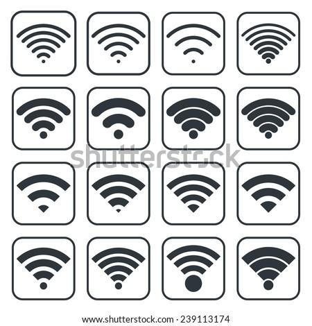 Vector black wireless icons set - stock vector