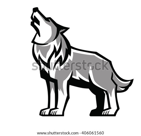vector black wolf howl emblem on white background - stock vector