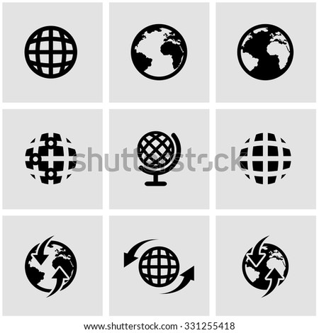 Vector black world map icon set