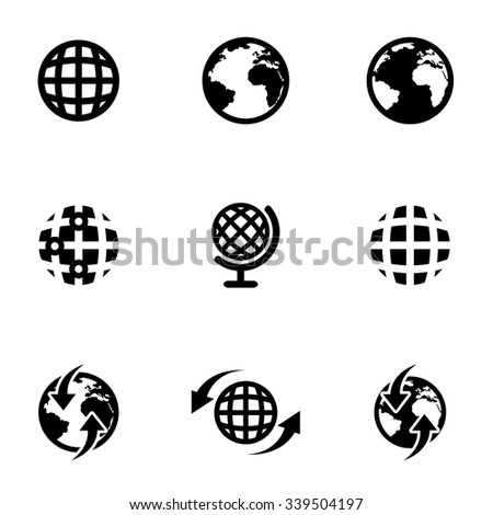 Vector black world map icon set.