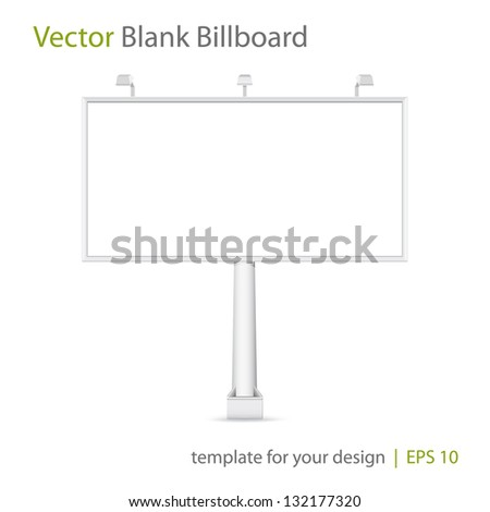 Vector blank Billboard on white background. Eps 10 - stock vector