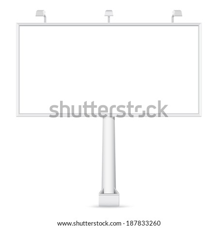Vector blank Billboard on white background. Template for your design - stock vector