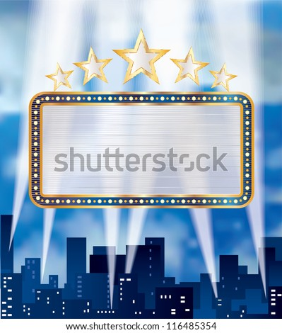 vector blank billboard over the city - stock vector