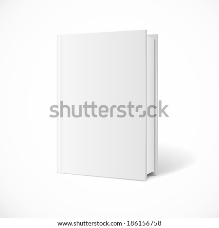 Vector blank book cover perspective. Vertical Template. White Background.