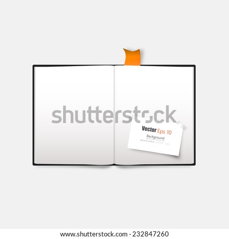 Vector blank book spread on white background. with bookmark,