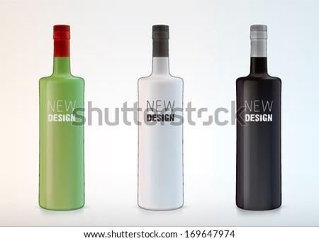 vector blank bottles for new design liquor or vodka - stock vector