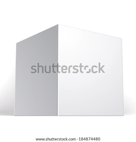 Vector blank box isolated on white background, template for your package design, put your image over the pack in multiply mode, illustration eps 8.