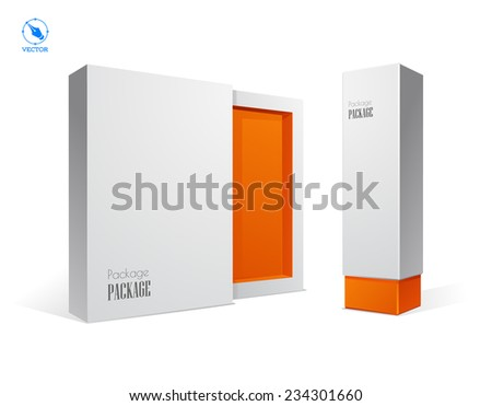 Vector blank box on white background with shadow. - stock vector